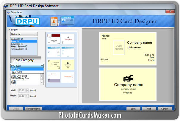 screenshots of id cards maker software to make identity card for students